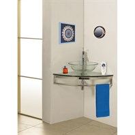 "Bath Authority DreamLine Modern Glass 23"" Clear Simplicity Corner Vanity with Sink DLVG-8113M-CL"