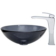 VIGO Sheer Black Glass Vessel Sink and Blackstonian Faucet Set in Chrome VGT254