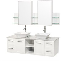 "Avara 60"" Shaker Wall-Mounted Double Bathroom Vanity Set - White WHE007-SH-60-WHT"