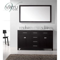 "Virtu USA Caroline 60"" Double Sink Bathroom Vanity - Espresso MD-2060-"