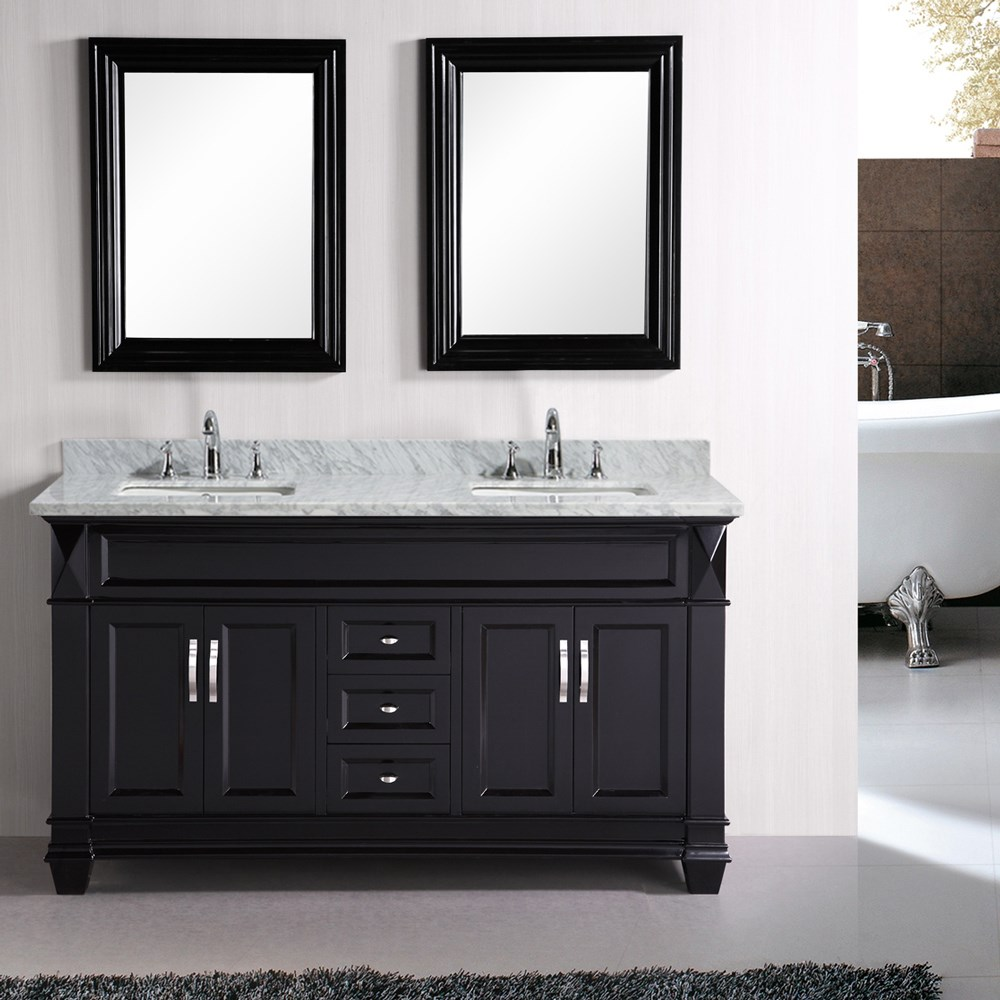 """The 61"""" double-sink Hudson vanity is elegantly constructed of solid hardwood. The classic beauty of the white carrara marble countertop, combined with the transitional style of the espresso cabinetry, brings a sophisticated look to any bathroom. This vanity features three functional drawers and two double-door cabinets, all adorned with satin nickel hardware.Features Solid Hardwood CabinetEspresso Finish, Crema Marfil Marble CountertopRectangular Under-Mount SinksThree DrawersTwo Double-Door CabinetsMatching Framed MirrorsVanity Set Includes: Cabinet, Countertop, Sinks, and Mirrors How to handle your counterSpec Sheet"""