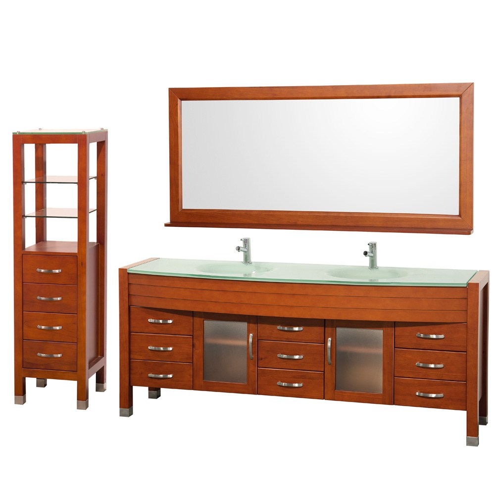 "Daytona 78"" Double Bathroom Vanity Set & Side Cabinet by Wyndham Collection - Cherry WC-A-W2200-78-CH-SET-"
