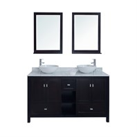 "Stufurhome 60"" Dakota Double Sink Vanity with Carrera Marble Top VM-18182B"