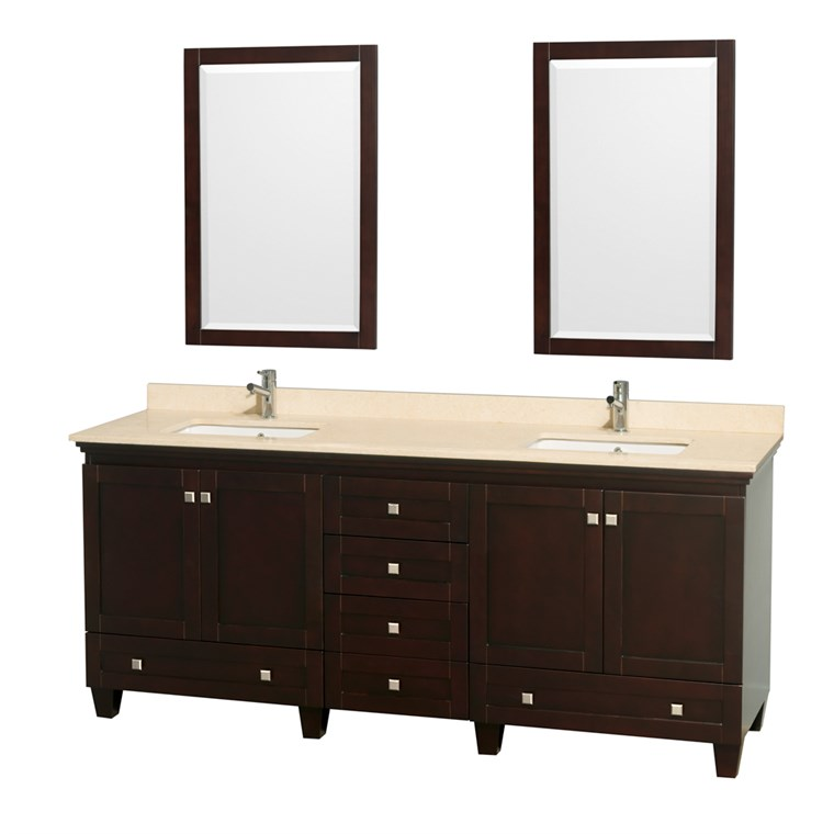 Acclaim 80 in. Double Bathroom Vanity - Espresso WC-CG8000-80-DBL-VAN-ESP-