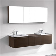 "Madeli Venasca 72"" Double Bathroom Vanity with Quartzstone Top - Walnut Venasca-72-WA-Quartz"