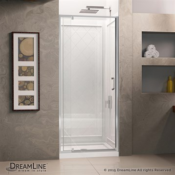 "DreamLine Flex 28-32"" Adjustable W x 32"" D x 76-3/4"" H Frameless Shower Door, Backwall and Base Kit,... by Bath Authority DreamLine"