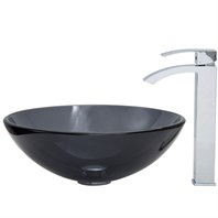 VIGO Sheer Black Glass Vessel Sink and Square Faucet Set in Chrome VGT252