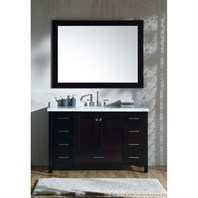 "Ariel Cambridge 55"" Single Sink Vanity Set with Rectangle Sink and Carrara White Marble Countertop - Espresso A055S-CWR-ESP"