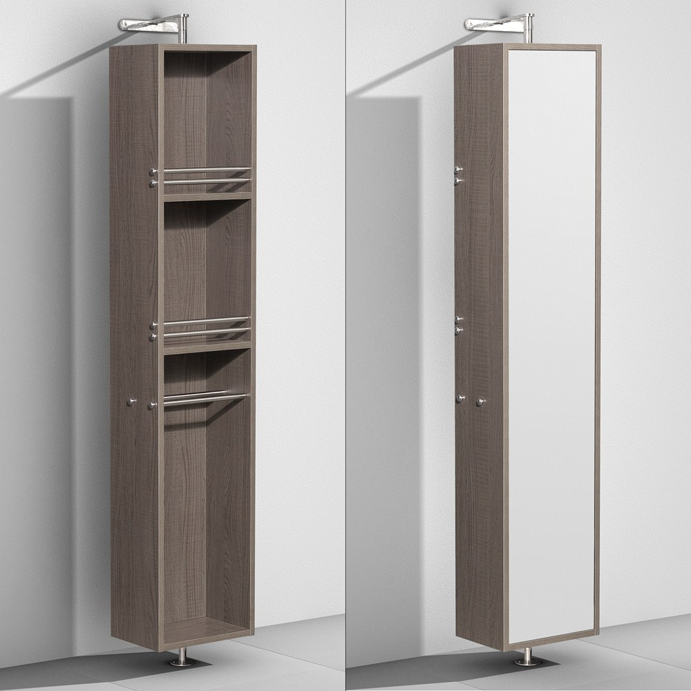 Amare Rotating Floor Cabinet with Mirror by Wyndham Collection - Gray Oaknohtin Sale $699.00 SKU: WC-RYV202-GROAK :