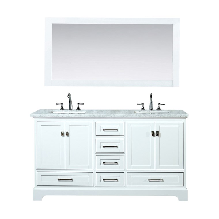 "Stufurhome Newport White 72"" Double Sink Bathroom Vanity with Mirror - White HD-7130W-72-CR"