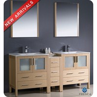 "Fresca Torino 72"" Light Oak Modern Double Sink Bathroom Vanity with Side Cabinet, Integrated Sinks, and Mirrors FVN62-301230LO-UNS"