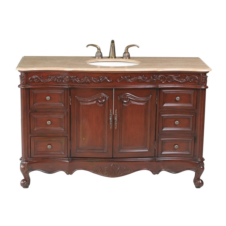 "Stufurhome 56"" Princeton Single Sink Bathroom Vanity with Travertine Marble Top - Cherry GM-5110-56-TR"