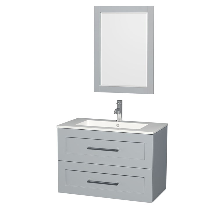 "Olivia 36"" Wall-Mounted Bathroom Vanity Set With Integrated Sink by Wyndham Collection - Dove Gray WC-R4500-36-VAN-DVG"