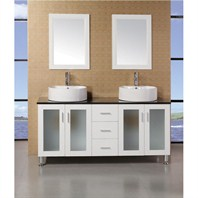 "Design Element Seabright 60"" Double Sink Modern Bathroom Vanity - White DEC066D-W"