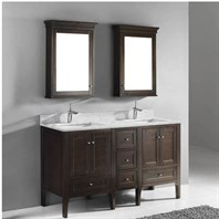 "Madeli Torino 60"" Double Bathroom Vanity - Walnut B970-24-001-WA-X2, UC970-12-007-WA"