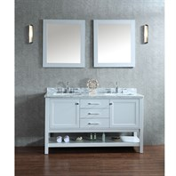 "Seacliff by Ariel Bayhill 60"" Double Sink Vanity Set with Carrera White Marble Countertop - Grey SCBAY60SCG"