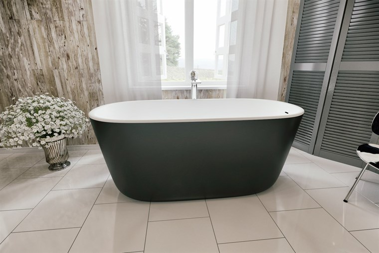 Aquatica Lullaby-Blck-Wht Freestanding Solid Surface Bathtub - Matte Black and Matte White Aquatica PS602M-Blck-Wht