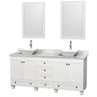 "Acclaim 72"" Double Bathroom Vanity for Vessel Sinks by Wyndham Collection - White WC-CG8000-72-DBL-VAN-WHT"