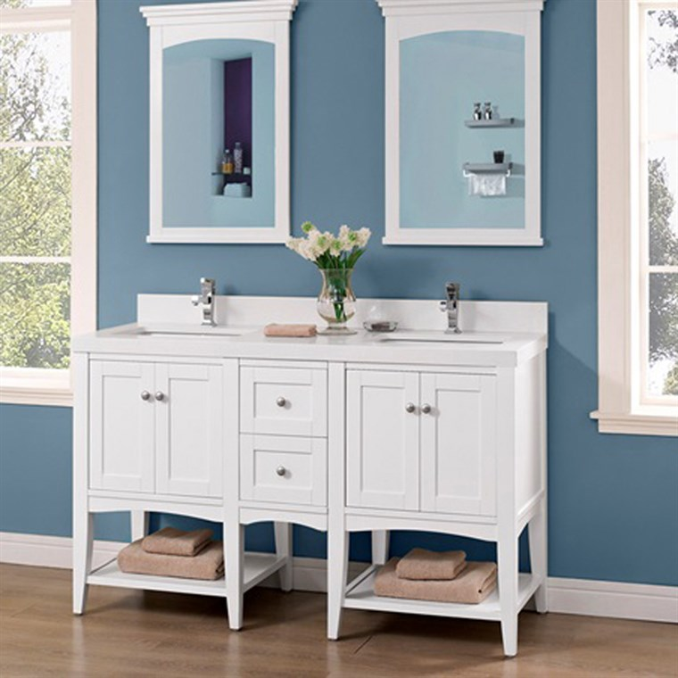 "Fairmont Designs Shaker Americana 60"" Double Vanity - Open Shelf for Quartz Top - Polar White 1512-VH24-X2, 1512-DB12-H"