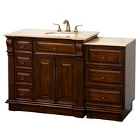 "Nottingham 55"" Traditional Single Bathroom Vanity with Drawers on Left - Antique Brown VC005-55-LEFT-ANTBRN"