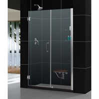 "Bath Authority DreamLine Unidoor Frameless Adjustable Shower Door with Glass Shelves (54""-55"") SHDR-20547210CS"