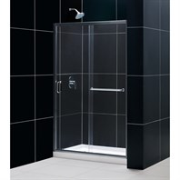 "Bath Authority DreamLine Infinity-Z Frameless Sliding Shower Door, Single Threshold Shower Base and QWALL-5 Shower Backwalls Kit (36"" by 48"") DL-6107C"