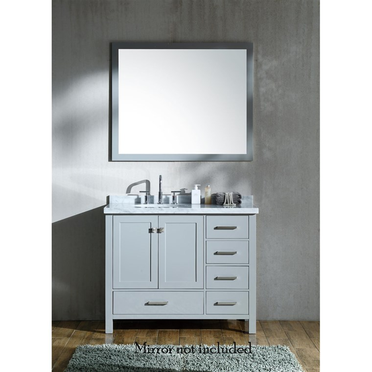 "Ariel Cambridge 43"" Single Sink Vanity with Left Offset Sink and Carrara White Marble Countertop - Grey A043S-L-VO-GRY"