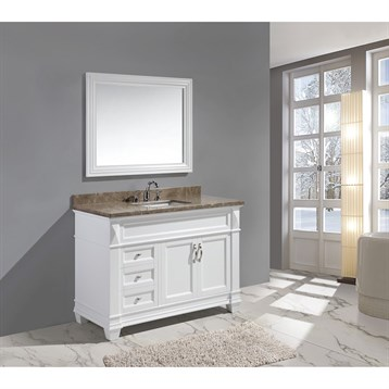 "Design Element Hudson 48"" Single Sink Vanity Set with Marble Top, White DEC059B-W-G by Design Element"