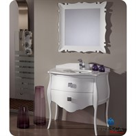 "Fresca Platinum Paris 37"" Glossy White Bathroom Vanity with Swarovski Handles FPVN7514WH"