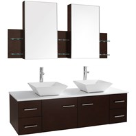 "Bianca 60"" Wall-Mounted Double Bathroom Vanity - Espresso WHE007-60-ESP"