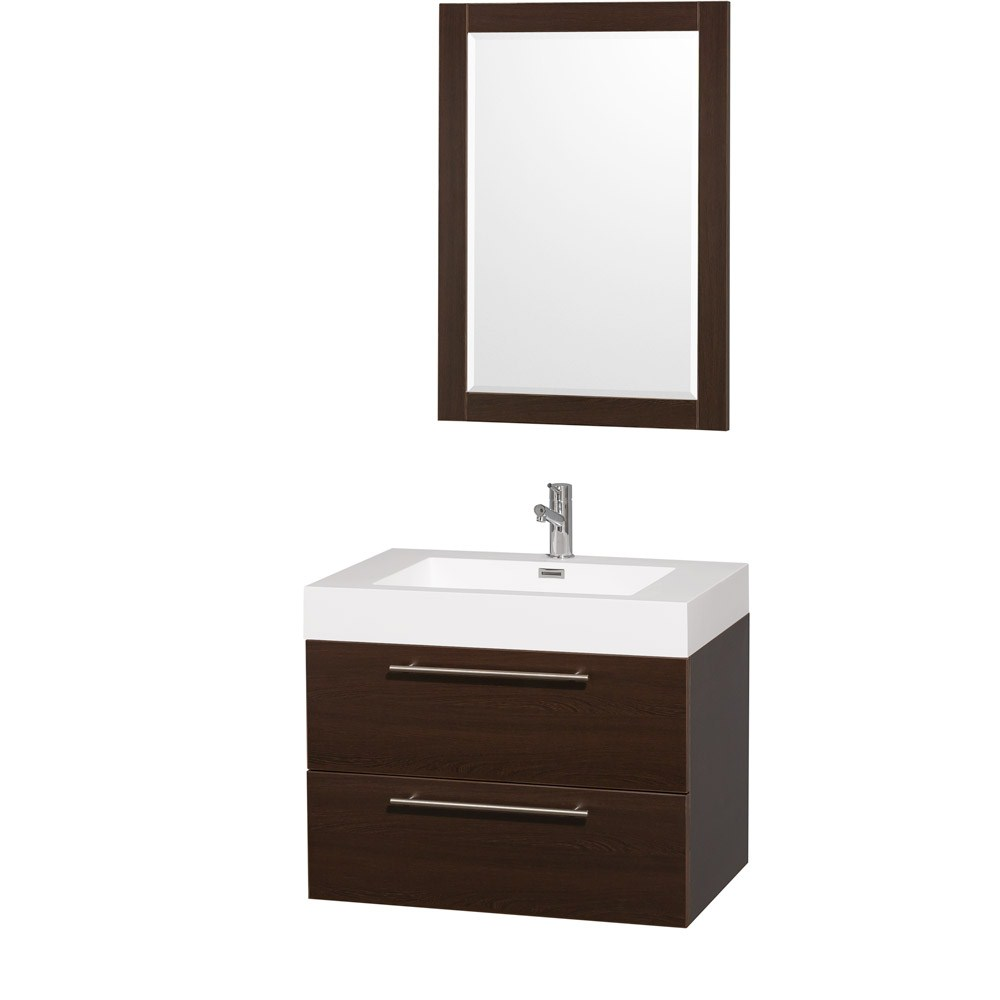 Amare 30 inch Wall Mounted Bathroom Vanity Set with Integrated Sink by Wyndham Collection Espresso