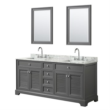 Tamara 72 Double Bathroom Vanity by Wyndham Collection - Dark Gray