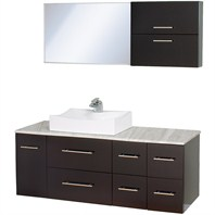 "Christo 54"" Modern Bathroom Vanity Set - Espresso/White Carrera"