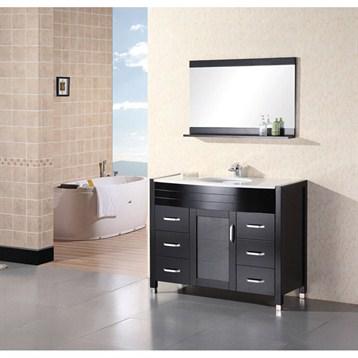 "Design Element Waterfall 48"" Bathroom Vanity with White Stone Counter, Espresso DEC017-W by Design Element"