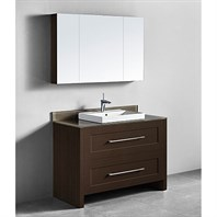 "Madeli Retro 48"" Single Bathroom Vanity for Glass Counter and Porcelain Basin - Walnut B700-48C-001-WA-GLASS"