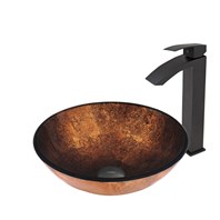 VIGO Russet Glass Vessel Sink and Duris Faucet Set in Matte Black Finish VGT501