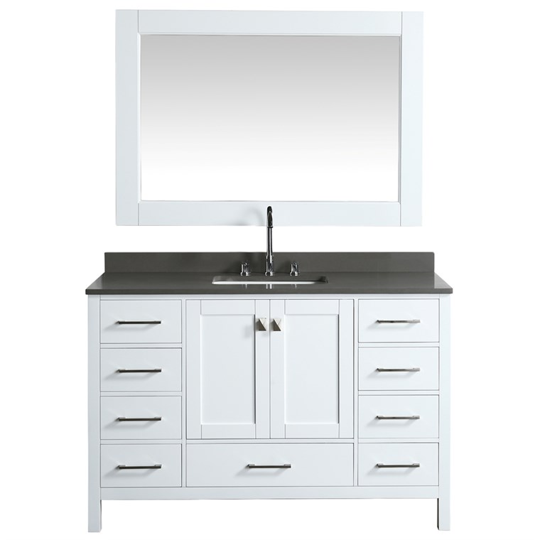"Design Element London Hyde 54"" Single Sink Vanity - White DEC082D-W-GT"