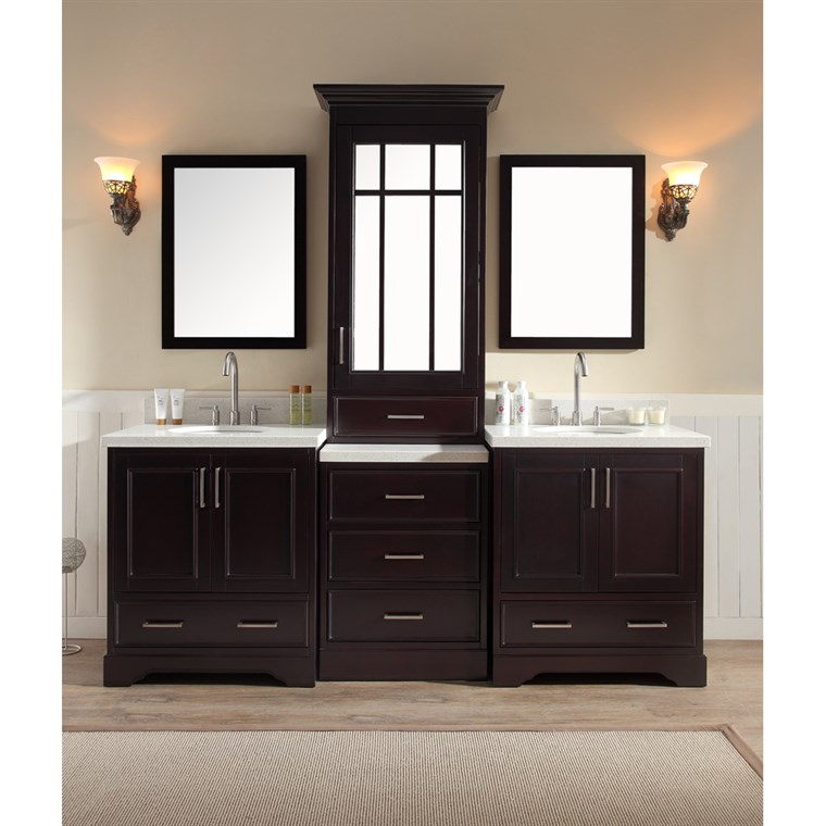 "Ariel Stafford 85"" Double Sink Vanity Set with White Quartz Countertop - Espresso M085D-ESP"
