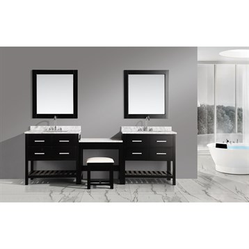 """Design Element London Two 36"""" Vanities with Open Bottom and Make-up Table, Espresso DEC077AX2_MUT by Design Element"""
