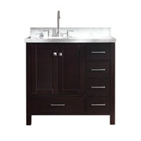 "Ariel Cambridge 37"" Single Sink Vanity with Left Offset Sink and Carrara White Marble Countertop - Espresso A037S-L-VO-ESP"