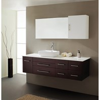 "Virtu USA Justine 59"" Single Sink Bathroom Vanity - Espresso UM-3050-S-ES"