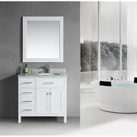 "Design Element London 36"" Single Vanity with Drawers on the Left - Pearl White DEC076DL-W-CB-36"