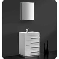 "Fresca Livello 24"" White Modern Bathroom Vanity with Medicine Cabinet FVN8024WH"