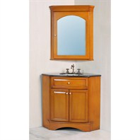 "Stufurhome 28"" Marcia Single Sink Vanity with Black Galaxy Granite Top and Mirror - Bright Brown GM-6122-28-BG"