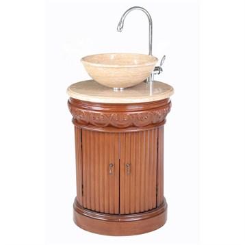 "Stufurhome 23"" Edwina Single Sink Vanity with Travertine Marble Top, Cherry GM-2211-23-TR by Stufurhome"