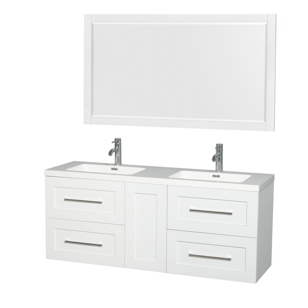 Olivia 60 Wall Mounted Double Bathroom Vanity Set With Integrated