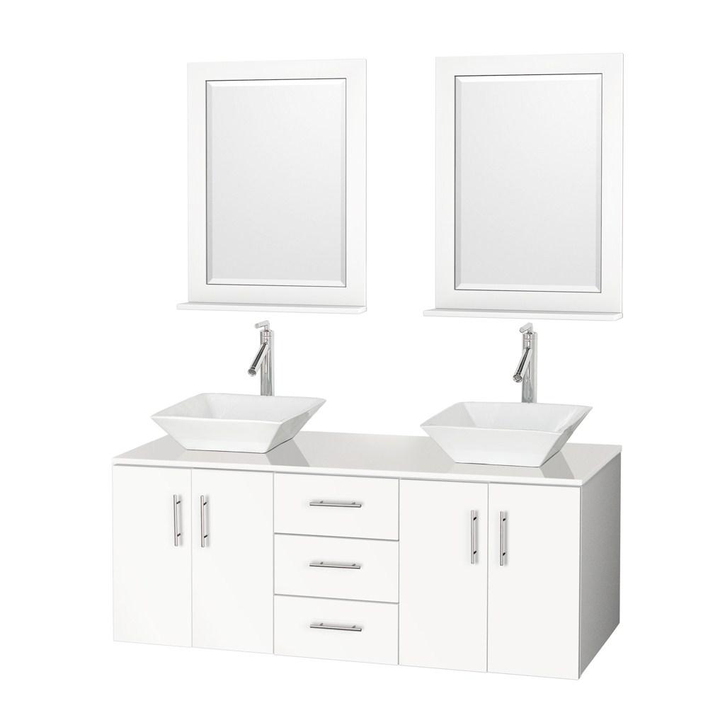 "Arrano 55"" Double Bathroom Vanity - White with Vessel Sinksnohtin Sale $1099.00 SKU: B400-55-DOUBLE-VANITY-WHITE :"