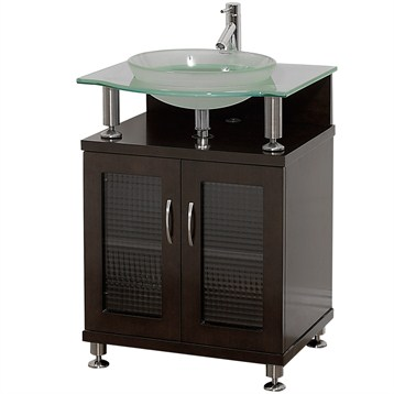 Charlton 24 bathroom vanity with doors espresso w clear or frosted glass counter free for Bathroom vanity with frosted glass doors