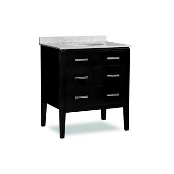 "Belmont decor Vantage 30"" Single Sink Vanity Set with Carrera White Marble Countertop, Espresso SM3D2-30-BLK by Ariel"