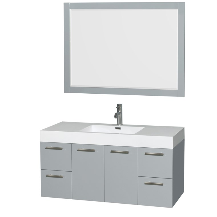 "Amare 48"" Wall-Mounted Bathroom Vanity Set with Integrated Sink by Wyndham Collection - Dove Gray WC-R4100-48-VAN-DVG-"